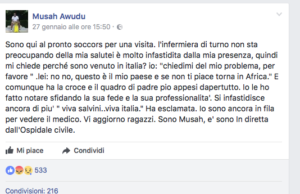 il post del migrante africano