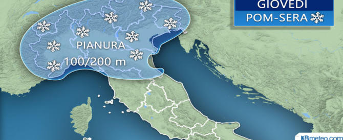 Il meteo spaventa ancora: giovedì neve su tutto il Nord e parte del Centro