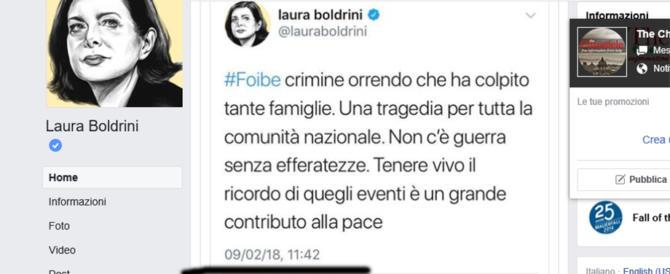 L'ennesimo sgarbo della Boldrini: ricorda le foibe ma sbaglia giorno…