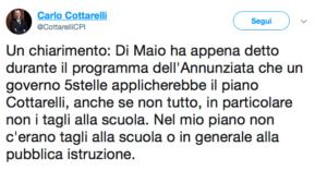 Il tweet di Cottarelli che sbugiarda Di Maio