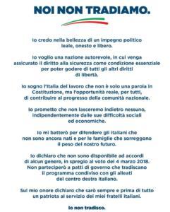 Il patto firmato dai candidati di Fratelli d'Italia