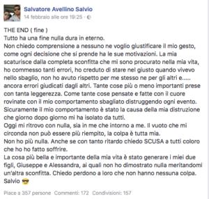 Il tragico post di Salvatore