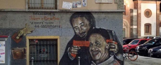 Falcone che punta la pistola alla tempia di Borsellino: murales sfregiato