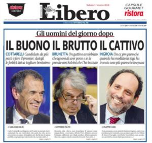 La prima pagina di Libero su Brunetta