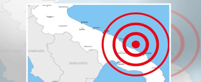 Incubo terremoto, la terra trema in Puglia: scossa di magnitudo 3.9 al largo di Brindisi