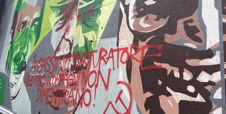 Imbrattano con la falce e martello un murale in onore di Dalla Chiesa