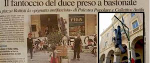 """Il vergognoso gioco per bambini degli """"antifà"""": bastonare Mussolini a testa in giù"""