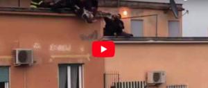 Roma, si butta dal tetto. Lo salvano afferrandolo per le caviglie (video)