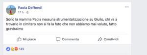 Il post su Fb della mamma di Giulio