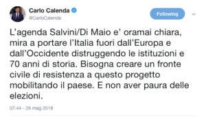 Il tweet di Calenda che evoca la resistenza