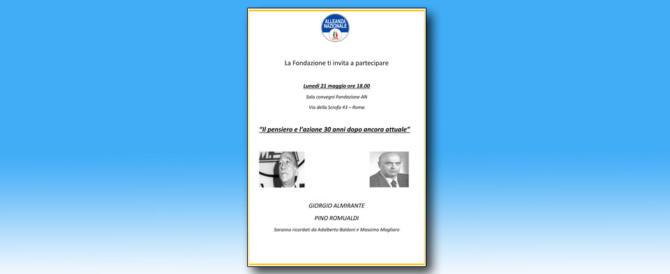 Romualdi e Almirante visti da vicino: oggi il ricordo alla Fondazione An