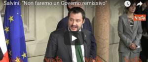Salvini: «Non faremo un governo remissivo: prima gli italiani» (video)