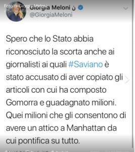 Il tweet di Meloni contro Saviano