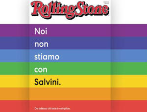 La copertina della Rivista Rolling Stone con il manifesto anti-Salvini