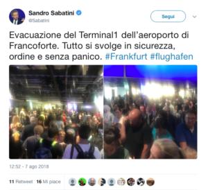 Il Tweet di Sandro Sabatini da Francoforte