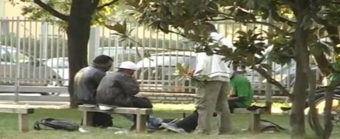 Orrore in pieno giorno, striscia in terra implorando la droga: pusher africani la prendono a calci