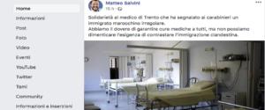 In un post su Facebook la solidarietà di Salvini al medico di Trento