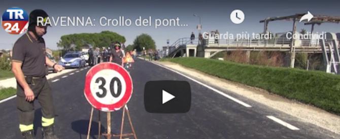 Crolla un ponte anche a Ravenna. Morto tecnico della protezione civile (video)