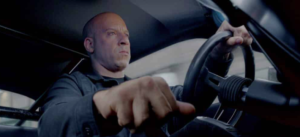 L'attore Vin Diesel nel film Fast and Furious