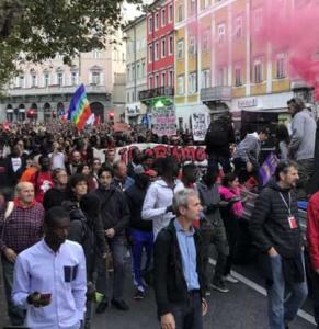 Al corteo triestino degli antifascisti hanno partecipato numerosi immigrati