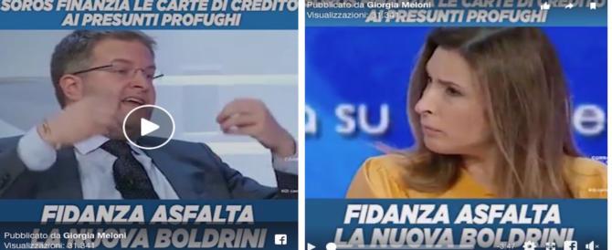 """Fidanza asfalta la """"nuova Boldrini"""": la Meloni posta il video che sbugiarda Soros e Onu (VIDEO)"""