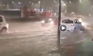 Nubifragio ad Avellino, strade allagate