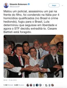 Tweet di Eduardo Bolsonaro su Battisti