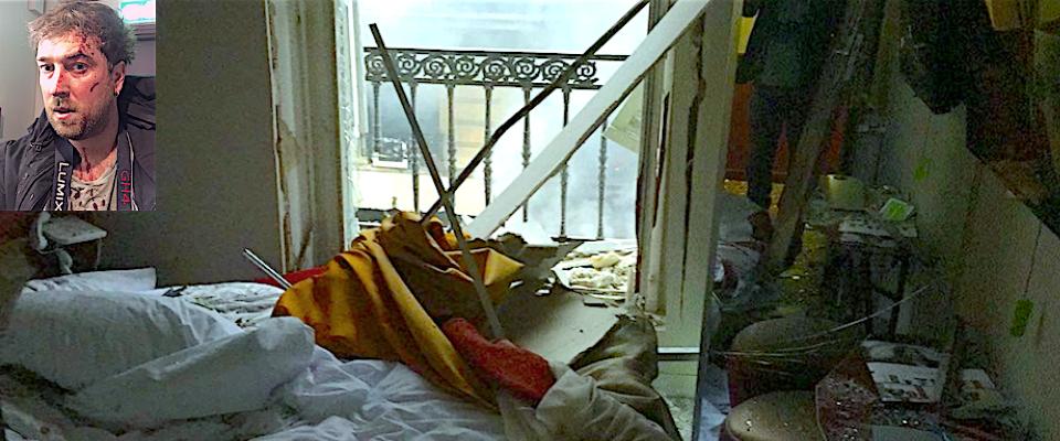 Matteo Barzini e la sua stanza dell'Hotel Mercure di Parigi devastata dall'esplosione