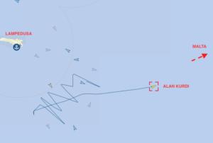 La traccia della navigazione della Alan Kurdi che, dopo aver tentato di entrare nelle acque territoriali italiane a Lampedusa, lascia l'area diretta verso Malta