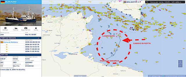 La posizione della Alan Kurdi, la nave della Ong Sea Eye che sta dirigendo verso Lampedusa dopo aver cambiato rotta
