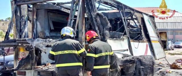 Il camioncino del venditore ambulante all'interno del mercato rionale di Gela completamente distrutto dall'esplosione e divorato dalle fiamme