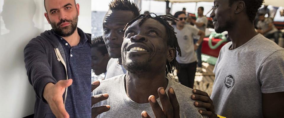 saviano soccorre i migranti con un selfie: