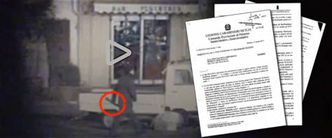 Il fermo immagine di un uomo con bastone su via Nicolò Turrisi a Palermo, dove è stato ucciso a bastonate dalla mafia Enzo Fragalà. Nel riquadro i verbali del nuovo pentito Lo Iacono che accusa il boss Gregorio Di Giovanni di essere il mandante