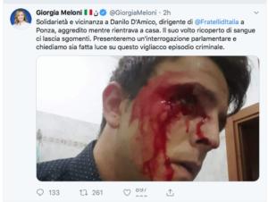 solidarieta di Giorgia Meloni a D'Amico