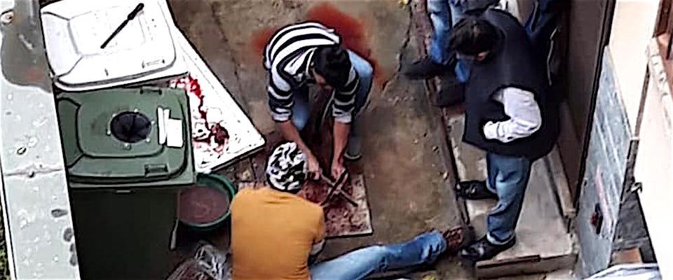 Milano da macellare: stranieri tagliano carne per terra in un cortile al centro della... - Secolo d'Italia