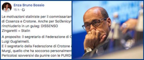 bufera sul post della Pd Bossio contro Zingaretti
