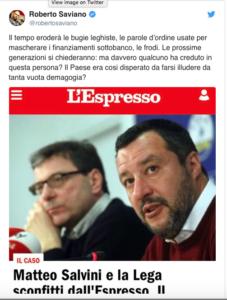 Saviano e il tweet su Salvini