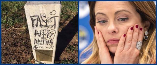 foto Ansa della Meloni e scatto della lapide vandalizzata presa dalla pagina Facebook di Giorgia Meloni