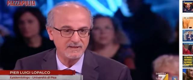 L'epidemiologo Lopalco a Piazzapulita frame da video Youtube