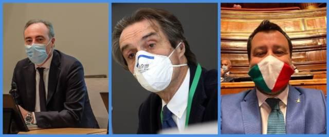 BeFunky-collage con foto Ansa di Gallera (a sinistra), Fontana (al centro) e Salvini