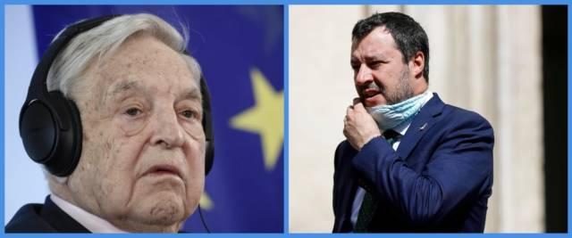 BeFunky-collage con foto Ansa di Soros (a sinistra) e Salvini