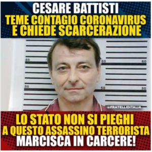 Cesare Battisti foto dalla pagina Facebook di Giorgia Meloni