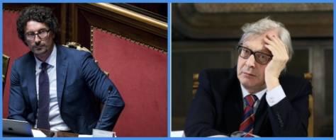 BeFunky-collage con foto Ansa di Sgarbi (a sinistra) e Toninelli