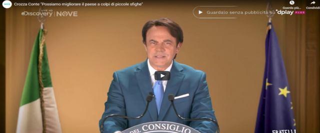 Crozza Conte frame da video Youtube