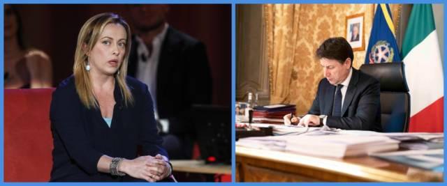 BeFunky-collage con foto Ansa di Giorgia Meloni e Giuseppe Conte