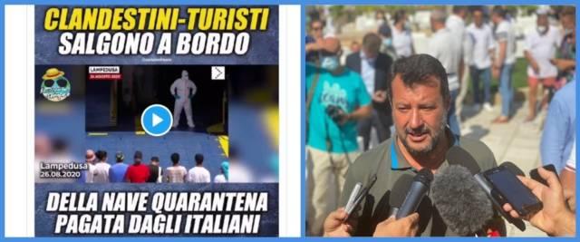 BeFunky-collage con foto da Twitter di Salvini e scatto Ansa del leader della Lega