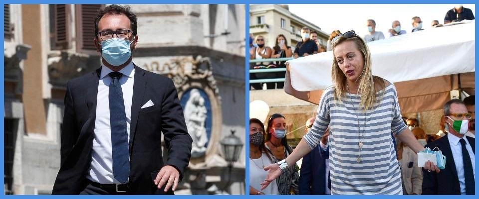 BeFunky-collage con foto Ansa di Giorgia Meloni e Alfonso Bonafede