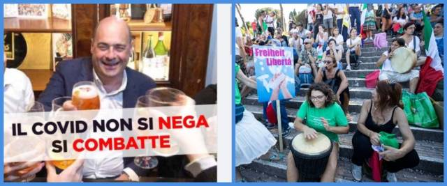 BeFunky-collage con foto di Zingaretti dal profilo Fb della Meloni e foto Ansa del corteo no mask