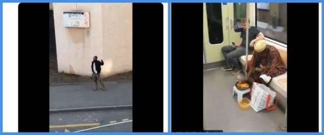 BeFunky-collage con frame da video di immigrati nelle nostre città dalla pagina Twitter di RadioSavana
