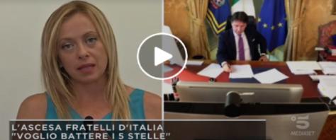 Giorgia Meloni a Mattino 5 frame da video dalla pagina Fb del programma e della Meloni